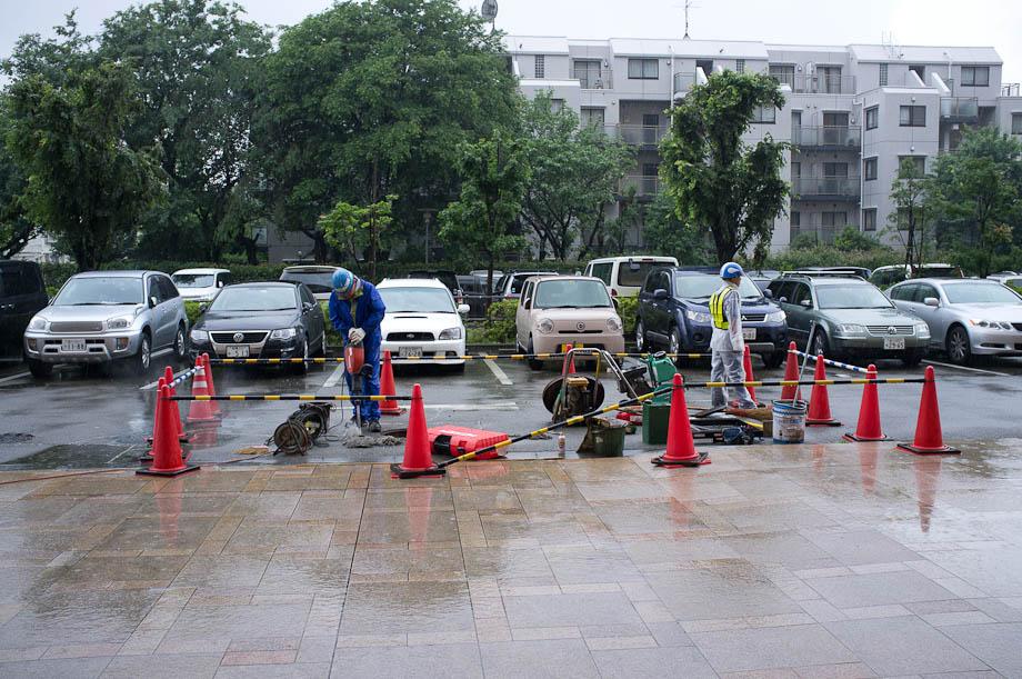 Construction in the rain