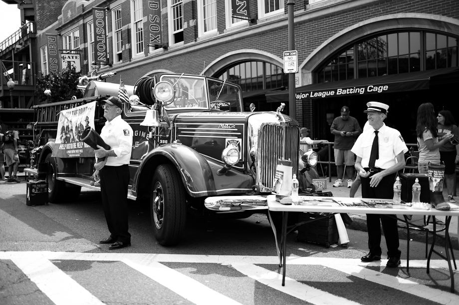 Firemen collecting donations at Fenway