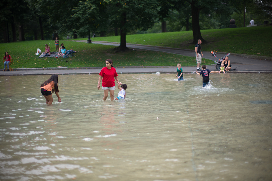 Wading in Boston Common Frog Pond