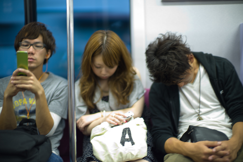 Sleeping on the train in Tokyo