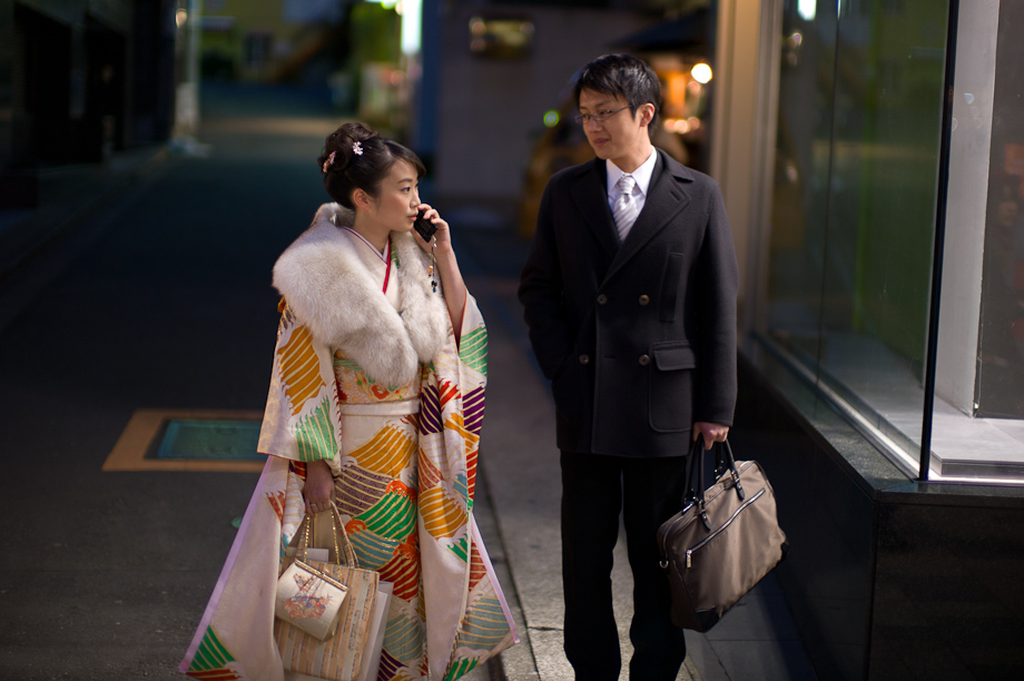 Young woman on the street in a Kimono