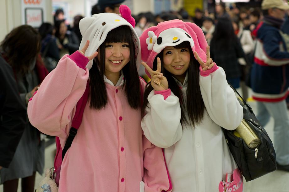 Kids dressed as Hello Kitty at Shibuya Station