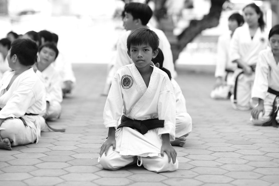 Kids studying karate in Phnom Penh, Cambodia