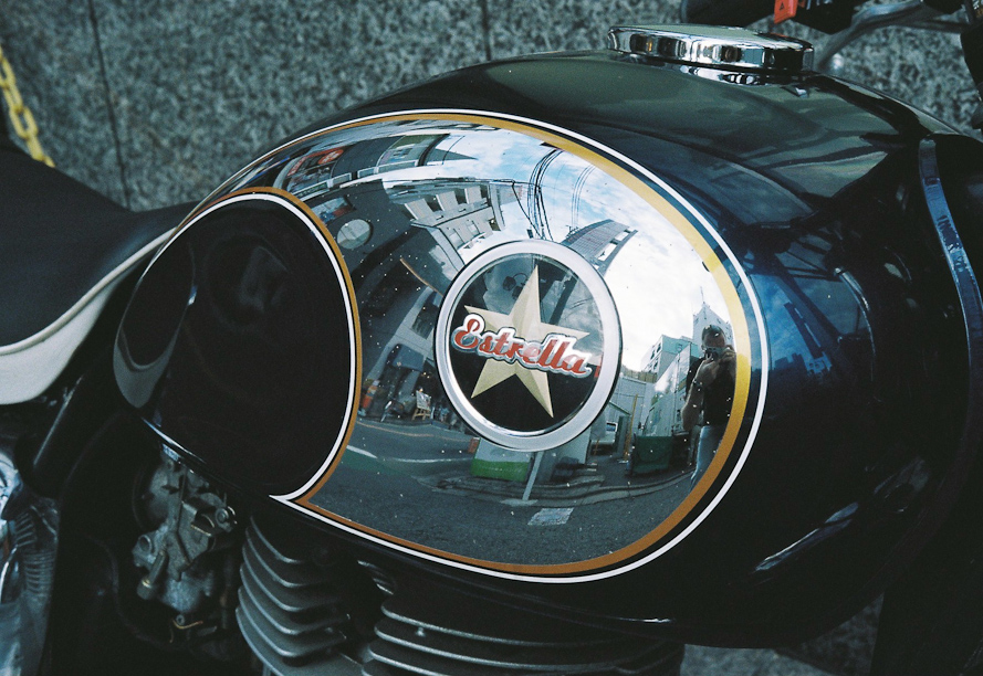 Reflections in a motorcycle