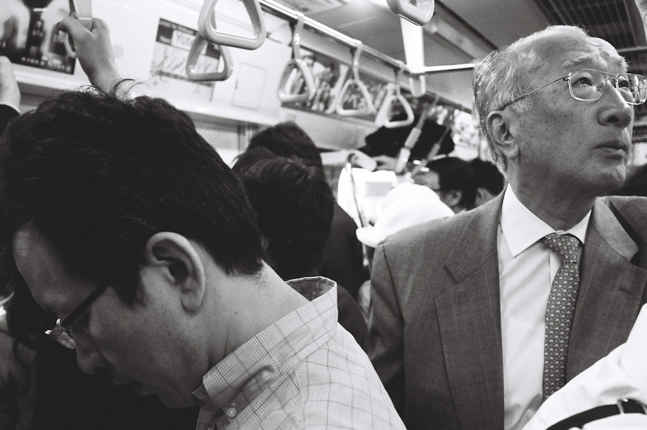 On the train in Tokyo