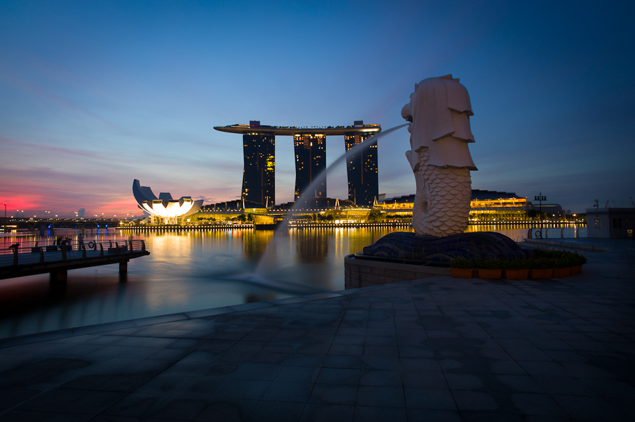 The Merlion and Marina Bay Sands Hotel