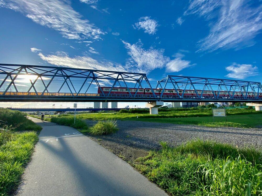 Train over Tamagawa River