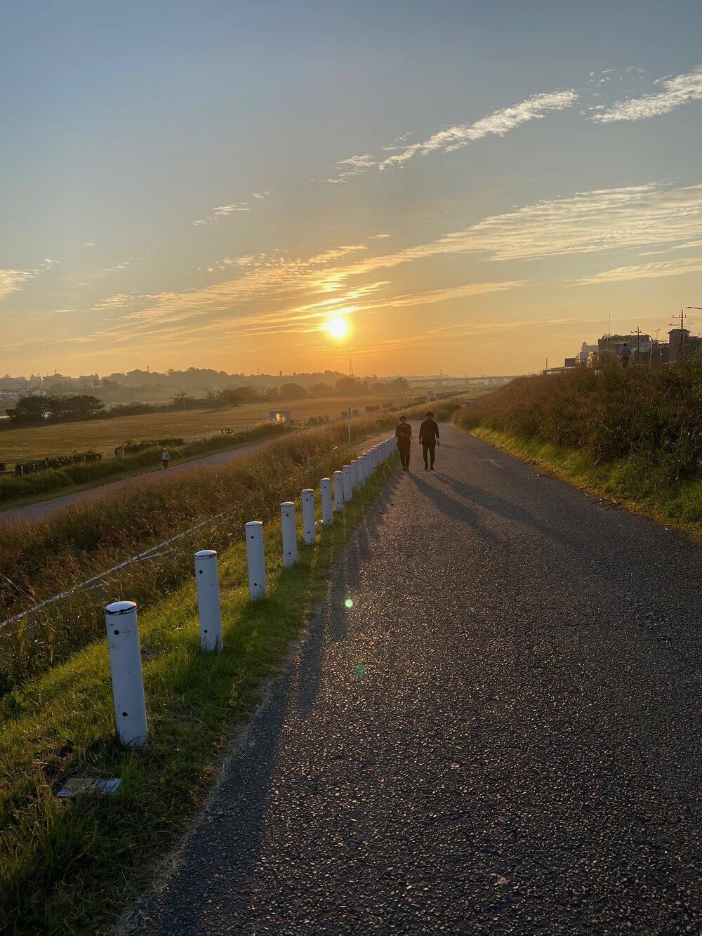 Sun Rise on Tamagawa River Bike Path