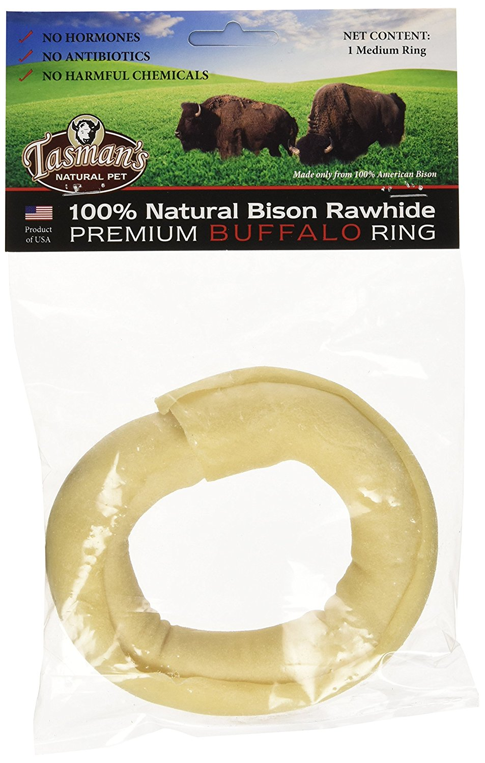 Tasman's Natural Pet All-Natural Buffalo Rawhide Rings - Made from US Bison