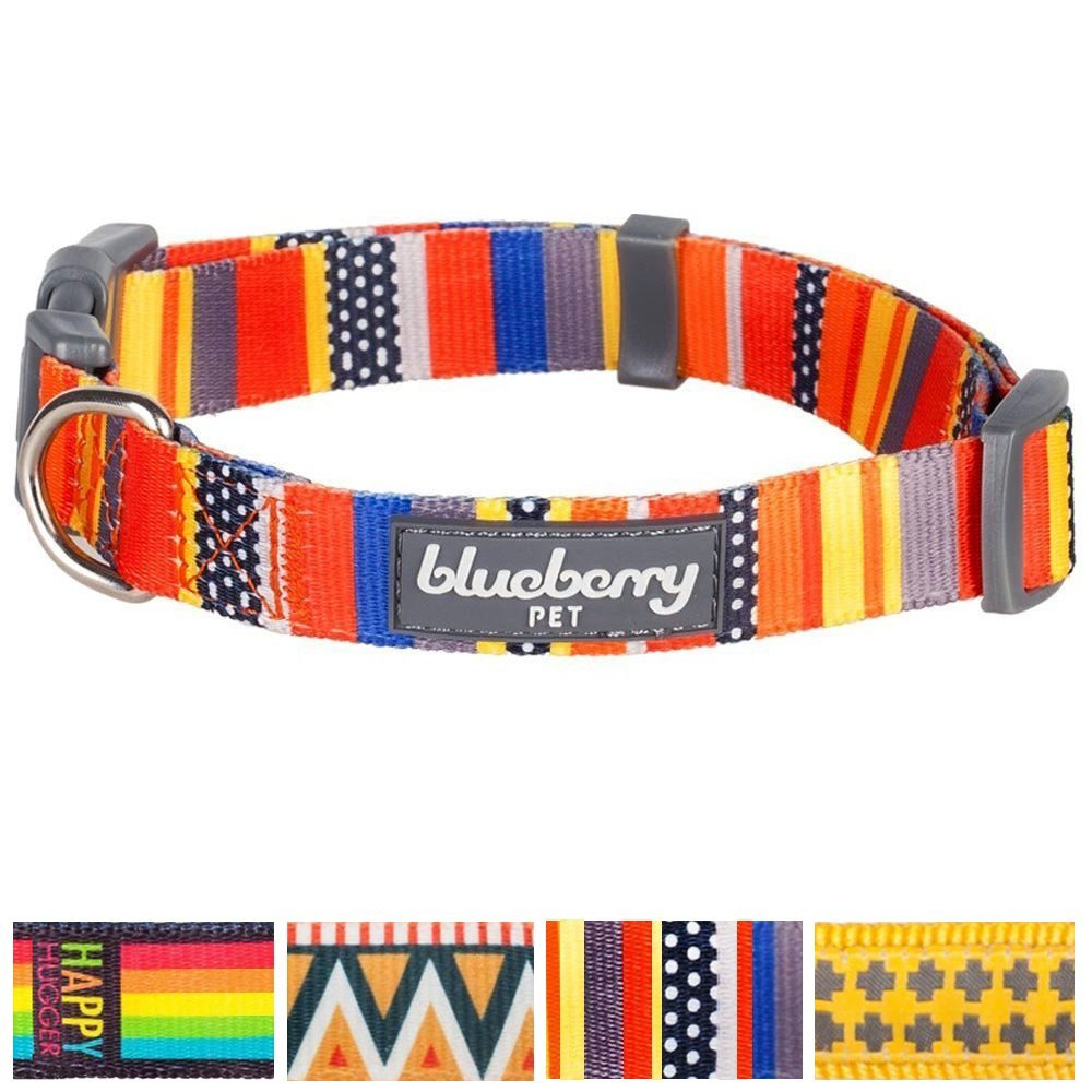 Blueberry Pet Adjustable Designer Dog Collar with Nautical Flags, Flame Stitch, Gold Cross or Rainbow Pattern, Matching Leash Available Separately