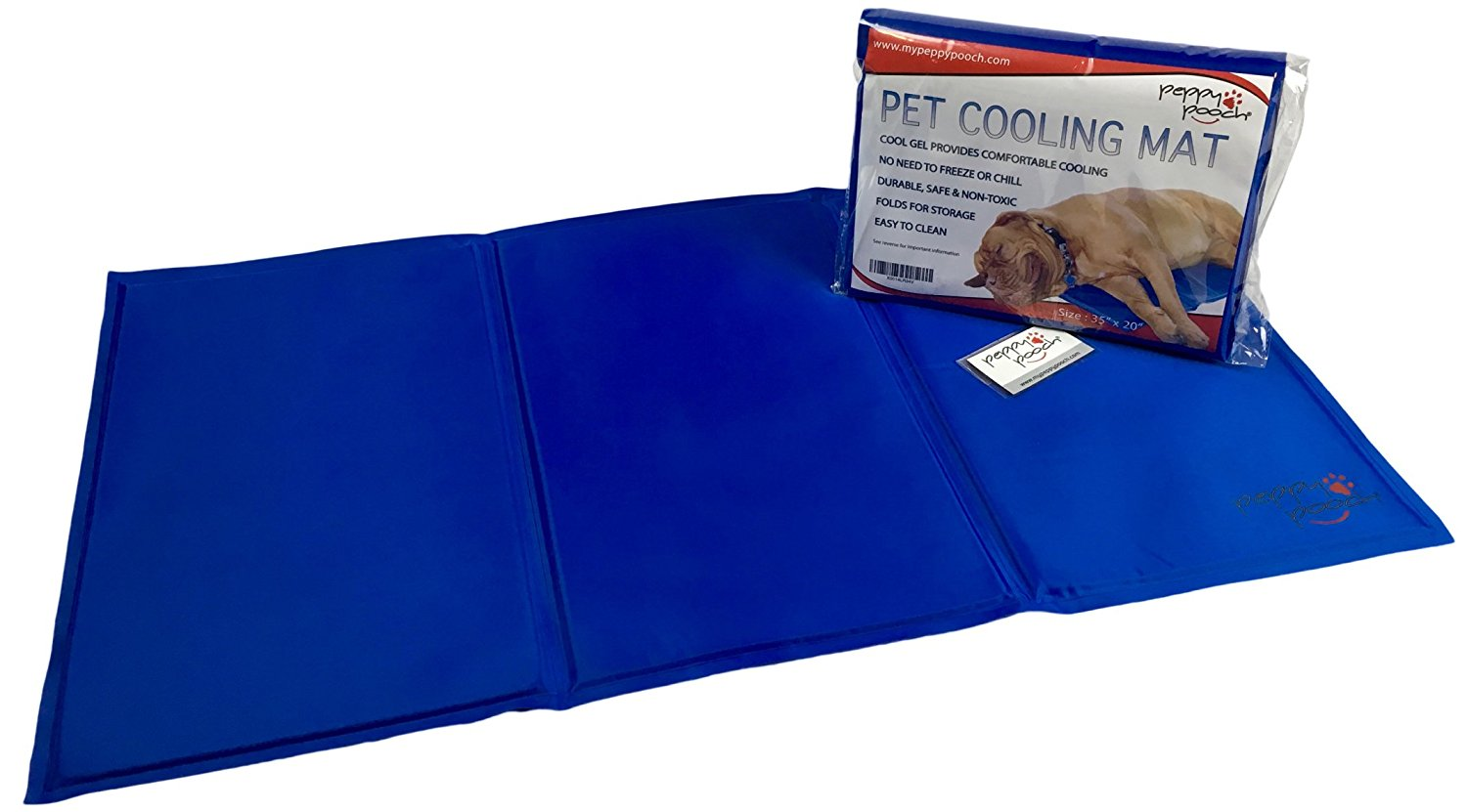 """Peppy Pooch Pet Cooling Mat - Soft Gel Comfort For Dogs. Durable, Safe, Non-Toxic & Easy To Clean. Large Size (35""""x 20"""")"""