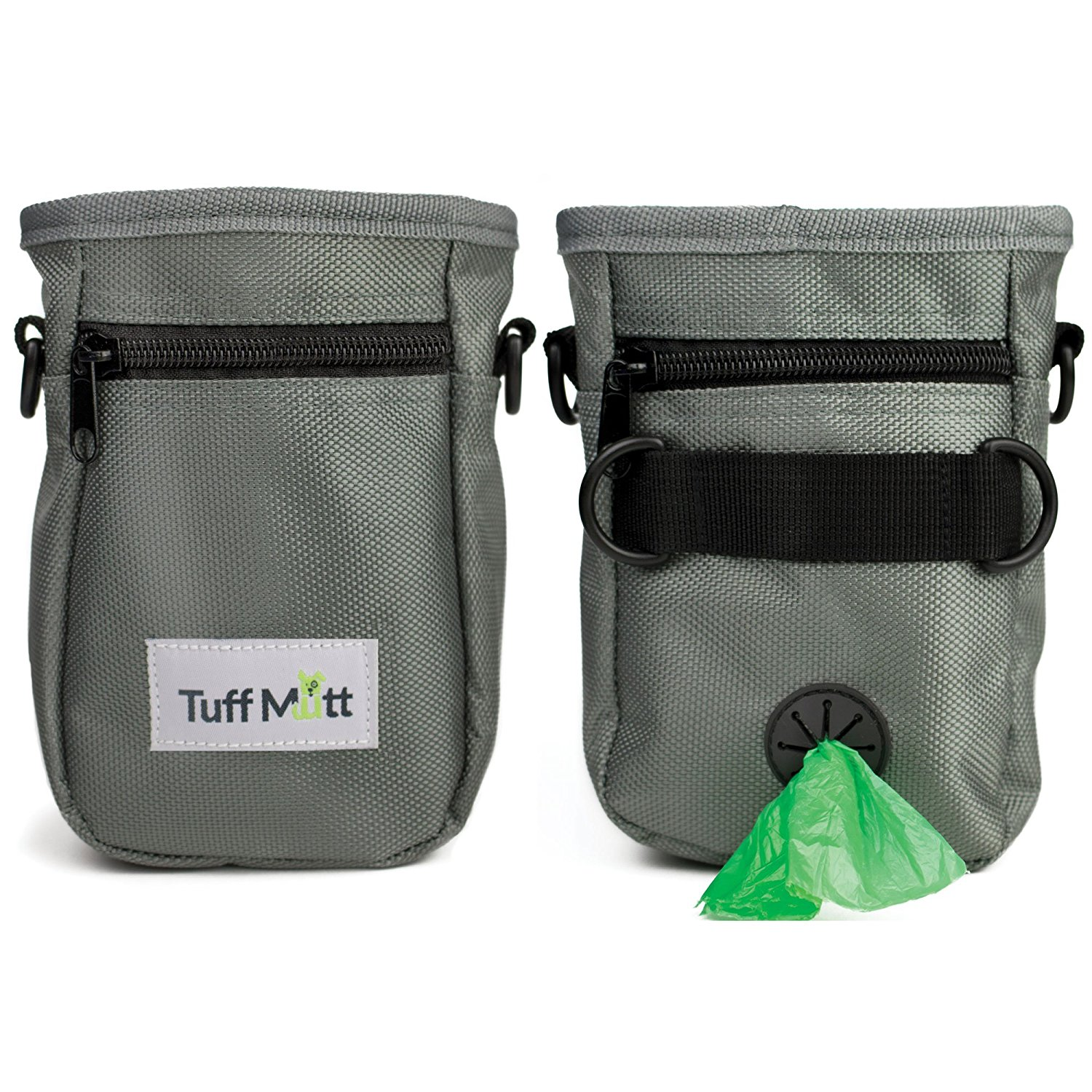 Tuff Mutt Dog Treat Pouch for Training, Carries Treats and Toys, Built-In Poop Bag Dispenser