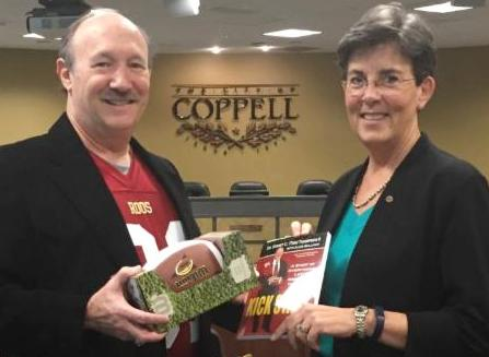 Pictured (L to R): Dr. Emmet C. (Tom) Thompson II joins Coppell, Texas, Mayor Karen Hunt to celebrate Coppell's annual Tom Thompson Appreciation Day and discuss the upcoming release of the updated and expanded edition of    Kick Start   . (Tom Thompson photo)