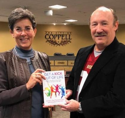 Pictured (L to R): Coppell, Texas Mayor Karen Hunt joins  Dr. Emmet C. (Tom) Thompson II  to celebrate Coppell's annual Tom Thompson Appreciation Day and discuss his latest book,  Get a Kick Out of Life . (Tom Thompson photo)