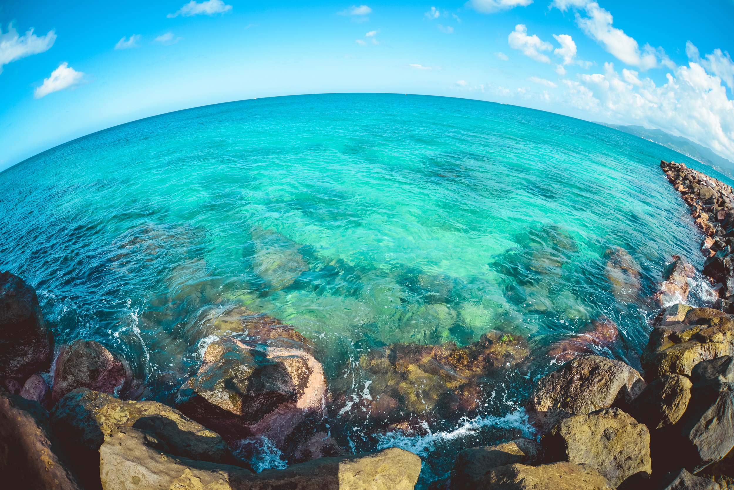 The vibrant turquoise waters of the Caribbean!
