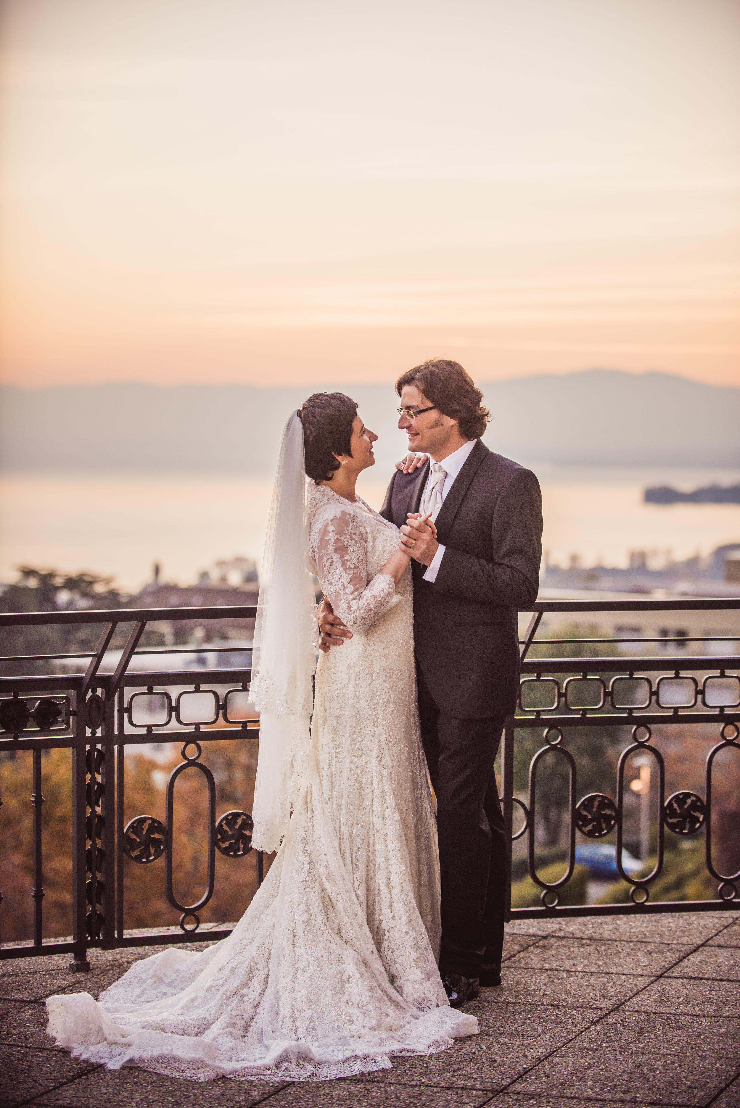 Mr. & Mrs. Fotinos on the balcony of Lausanne Palace at dusk, 29th October, 2016