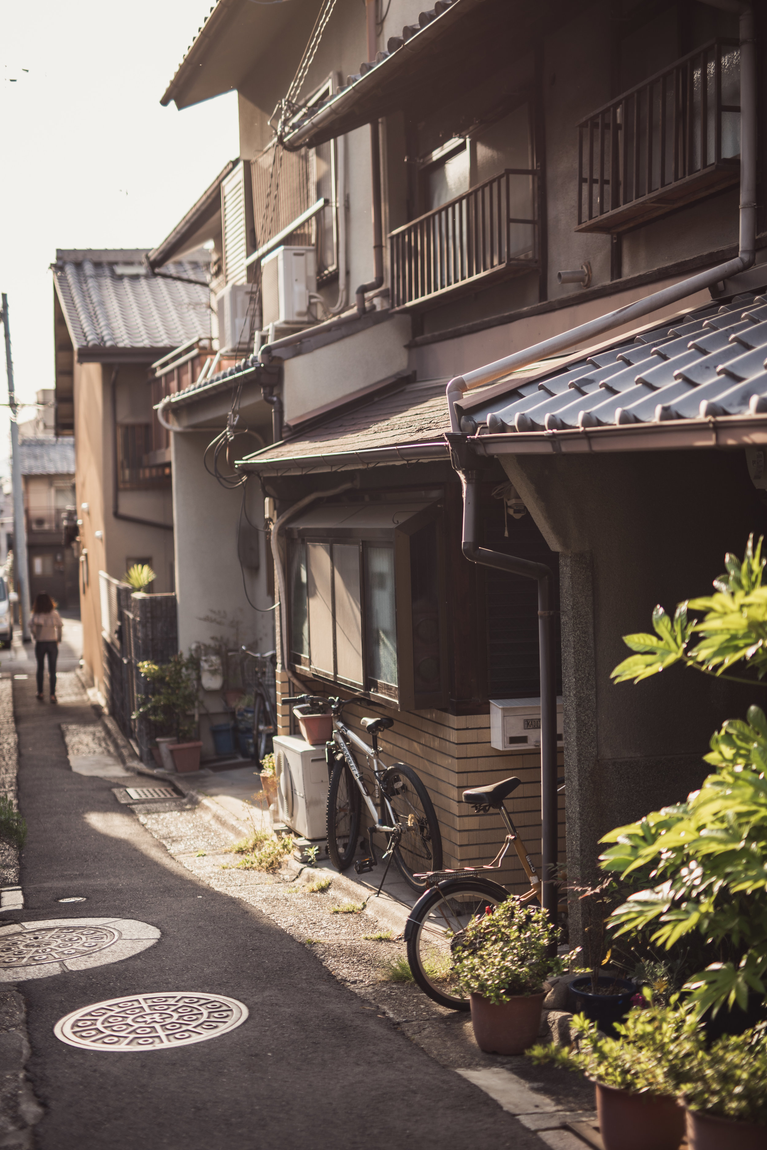 A residential alley in downtown Kyoto