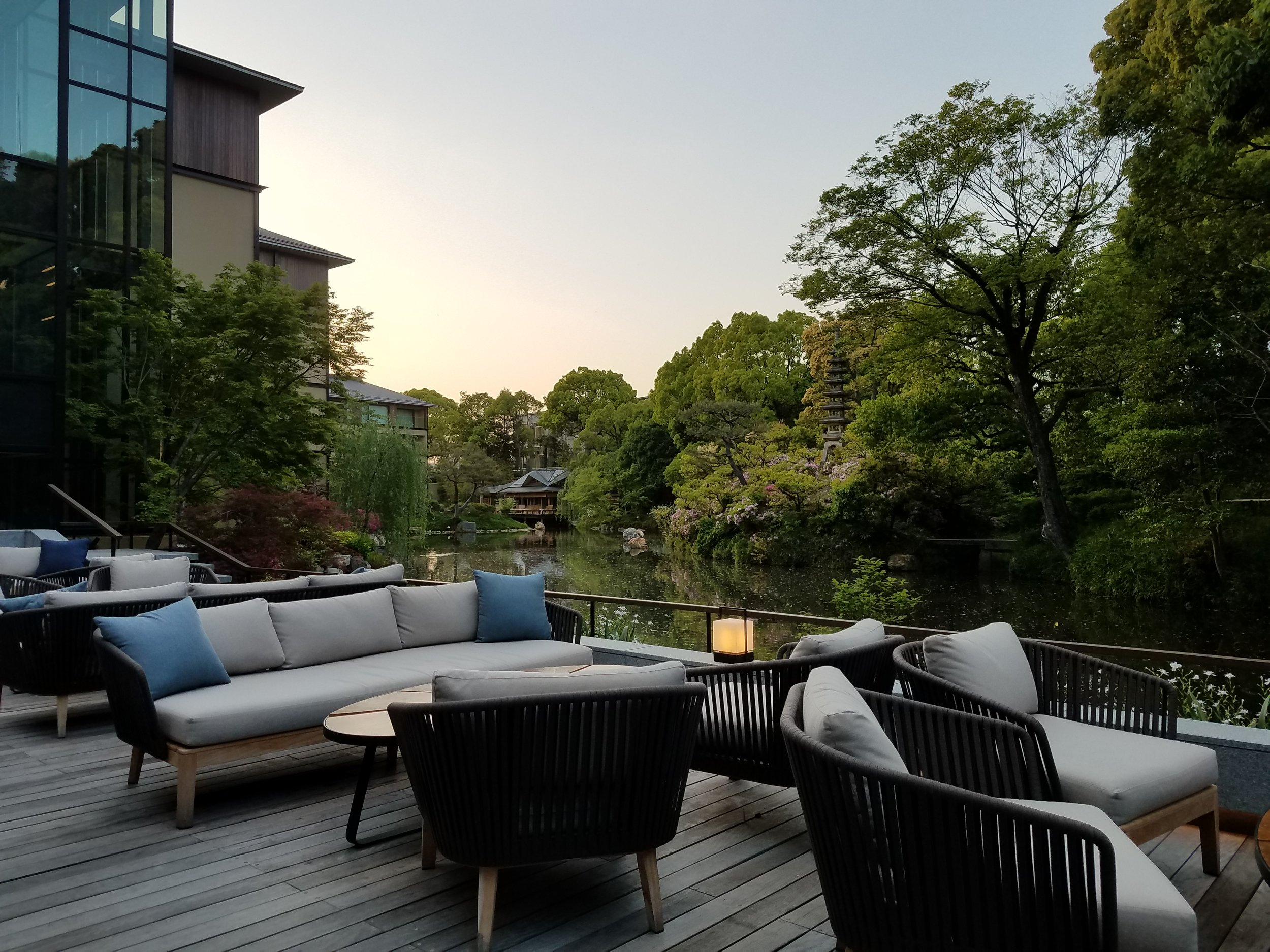 The private garden of Brasserie Restaurant, Four Seasons Hotel - Kyoto