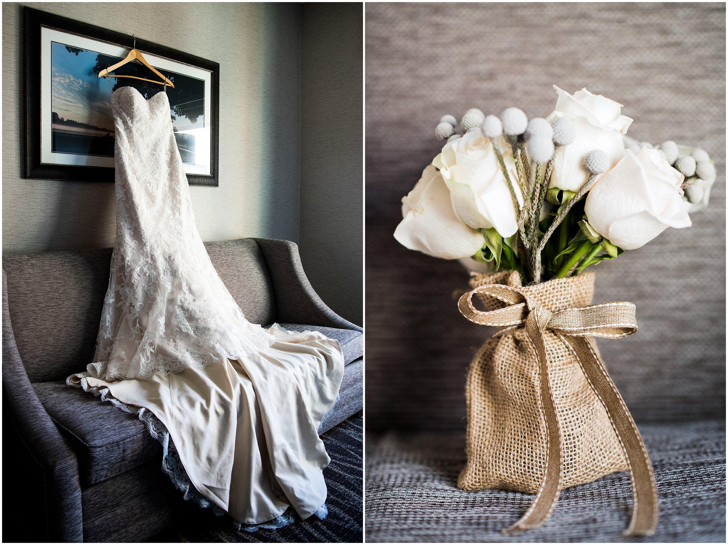 wedding dress, flowers