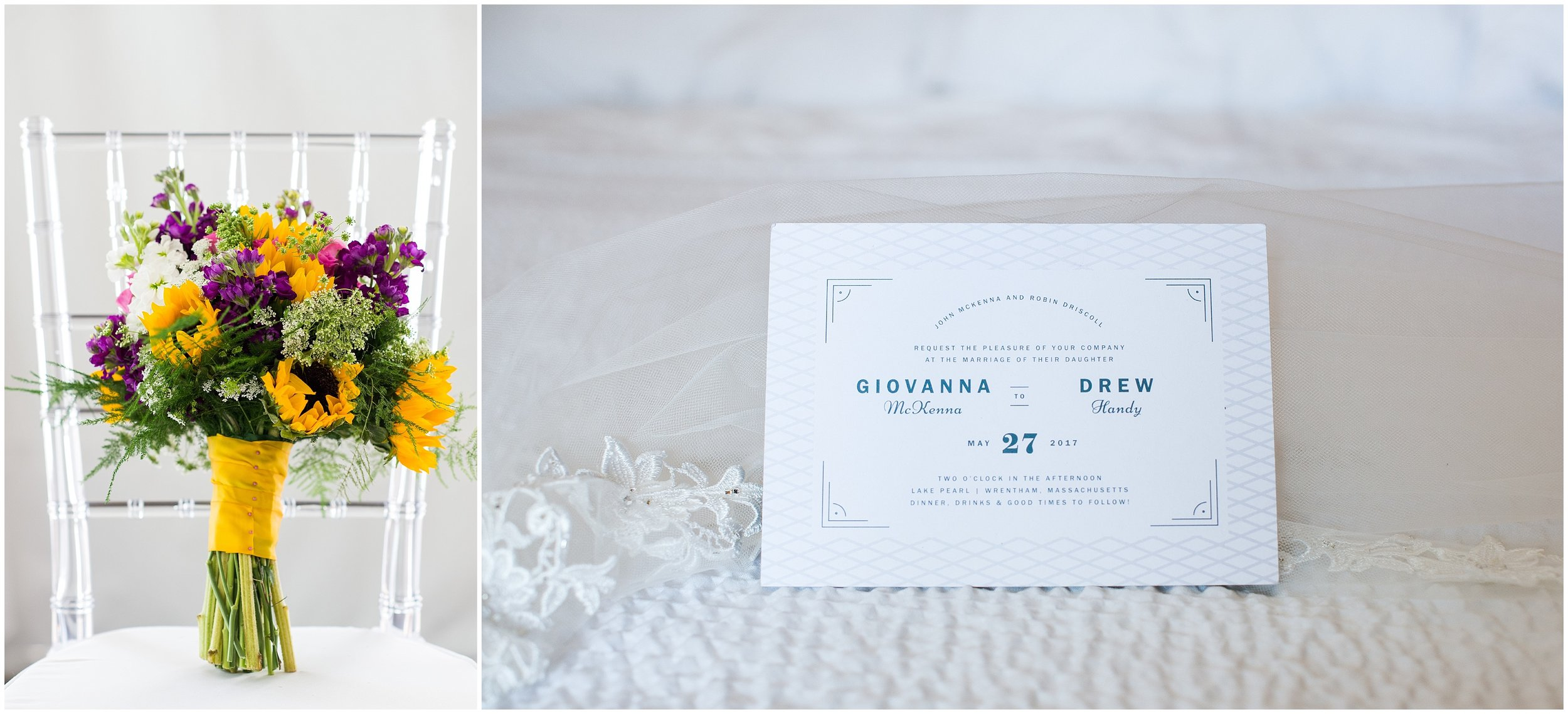 wedding invitation and flowers