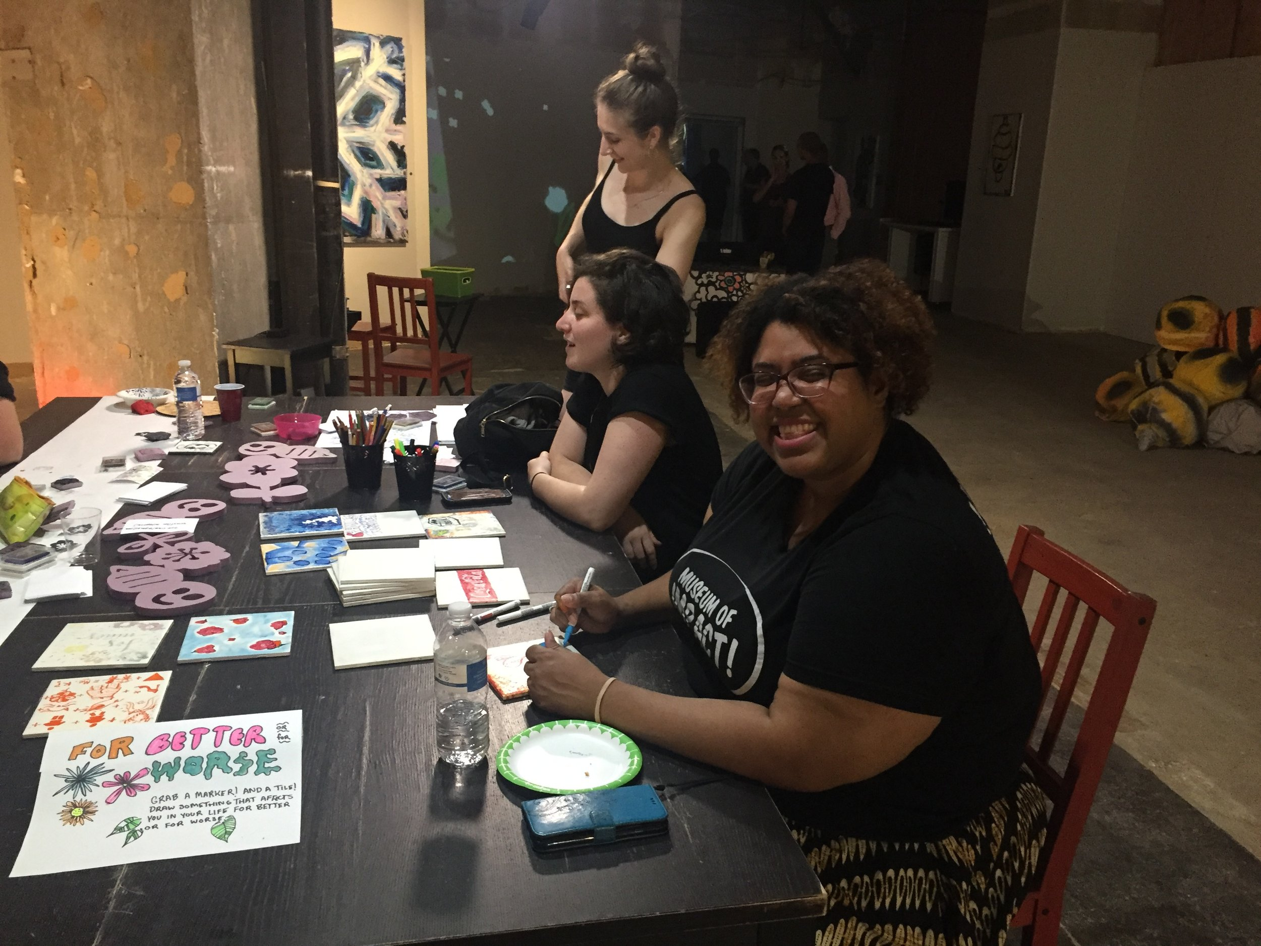 Monica Montgomery makes art with new friends
