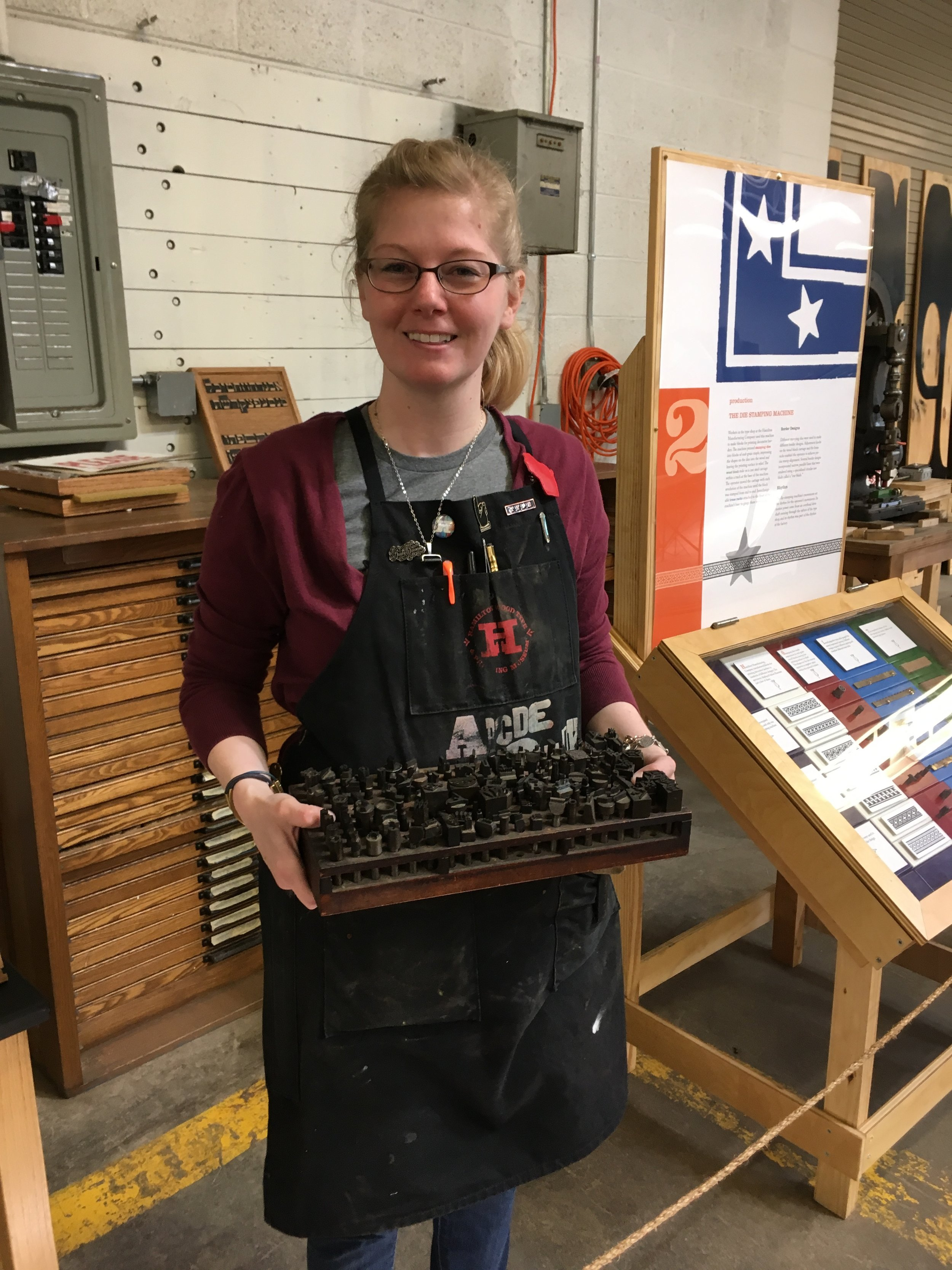 Stephanie with tray of dies