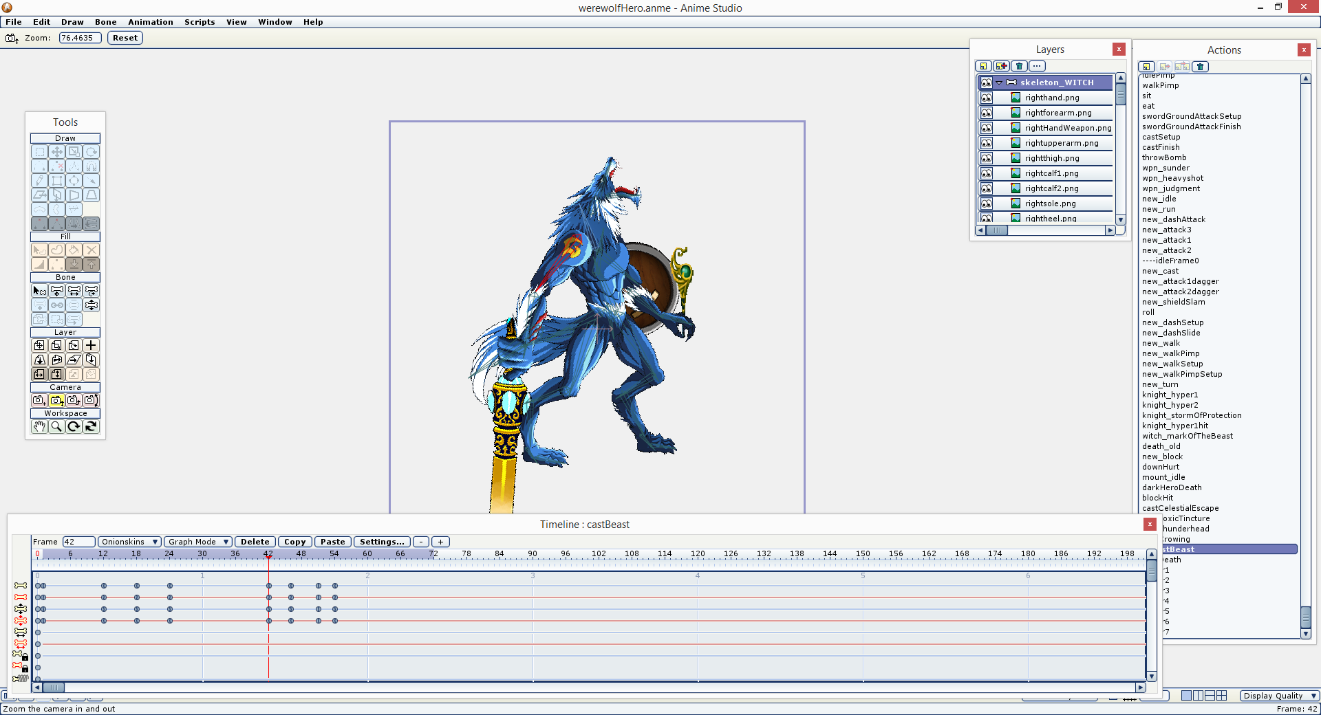 Animated heroes, monsters, and bosses in AnimeStudio