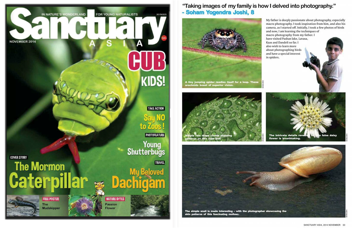 Soham's work published in prestigious Sanctuary Asia CUB magazine