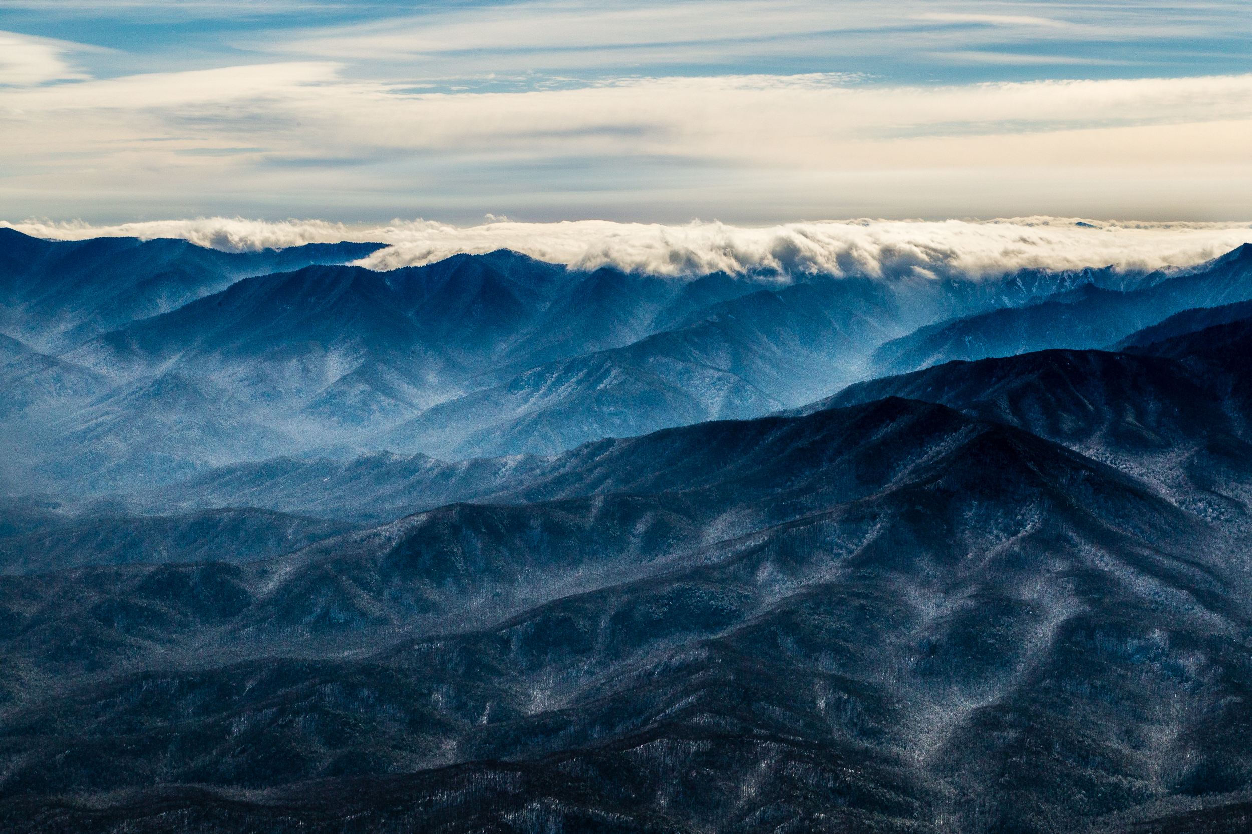 Low cloud layer atop the Great Smoky Mountains.