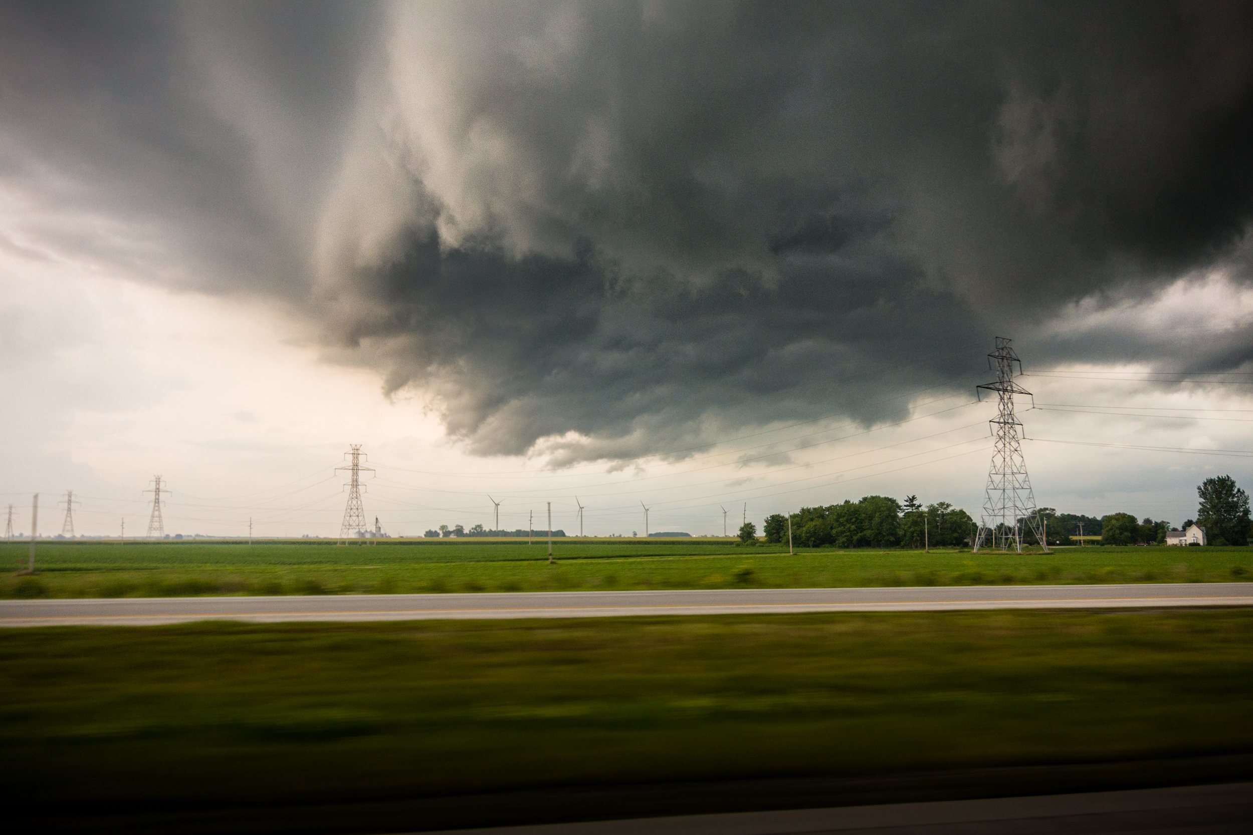 Storms over large wind farms near Remington, Indiana.