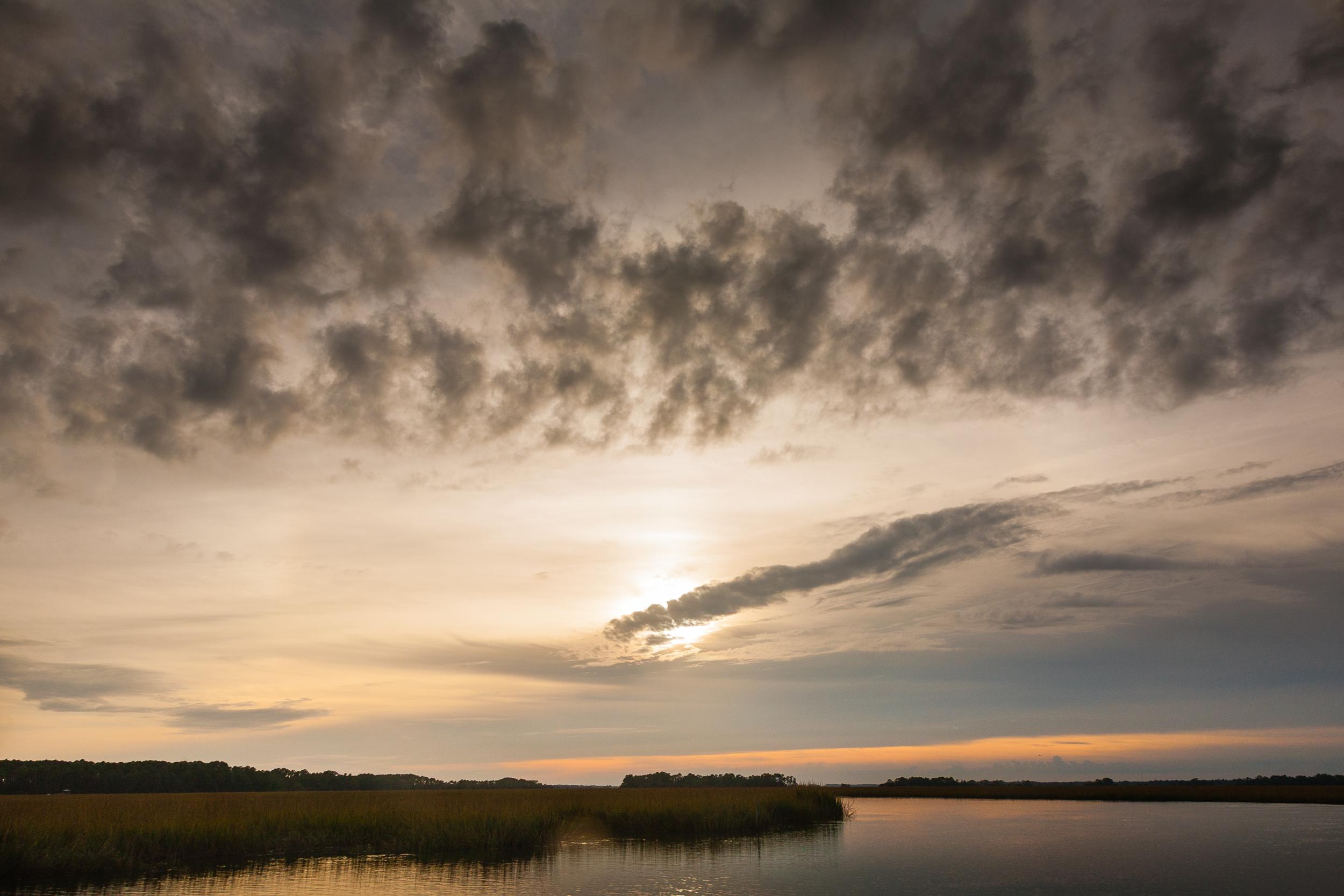 Late light over tidal wetlands, Folly Island, South Carolina.