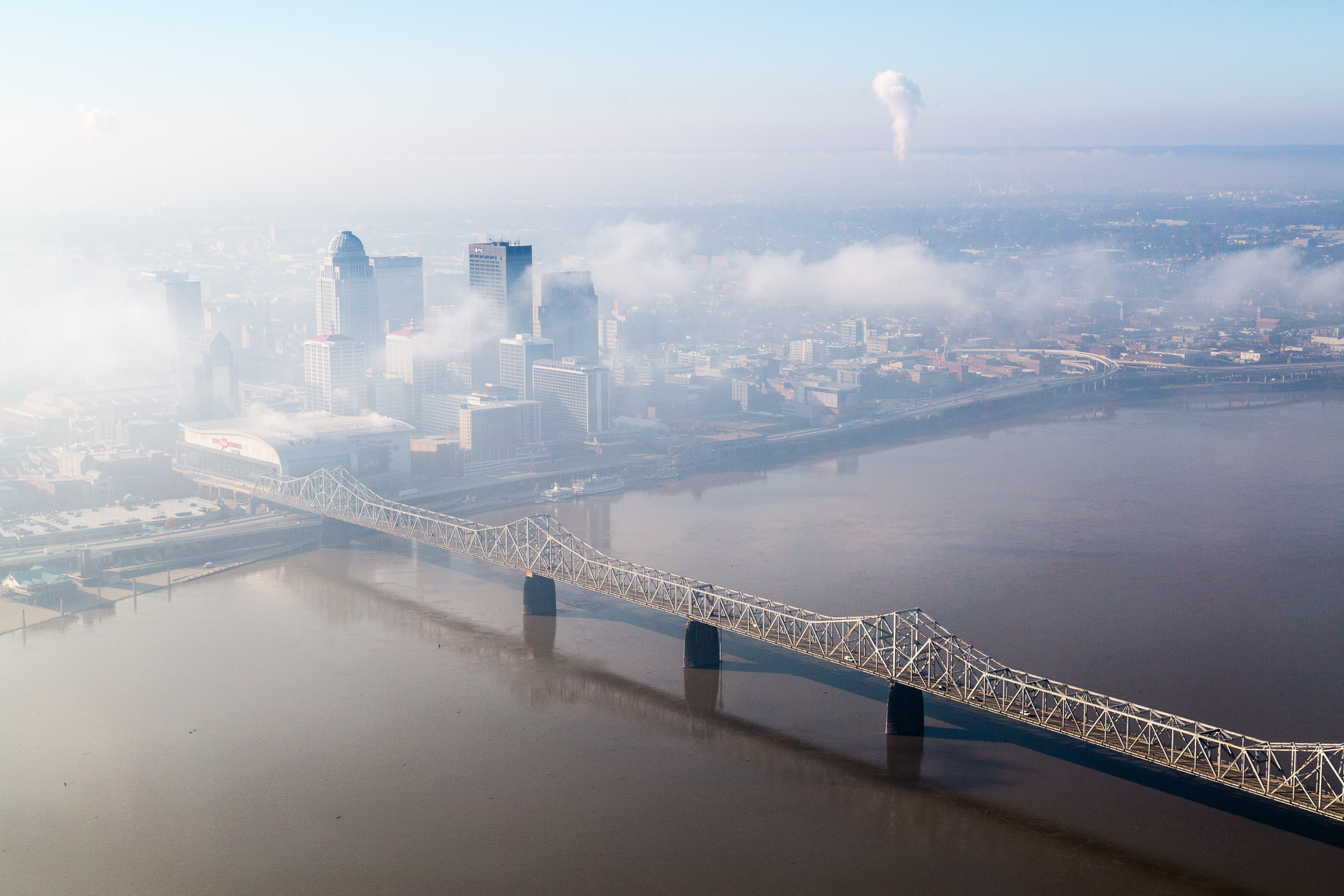 Low morning clouds and fog over Louisville, Kentucky and the Ohio River.