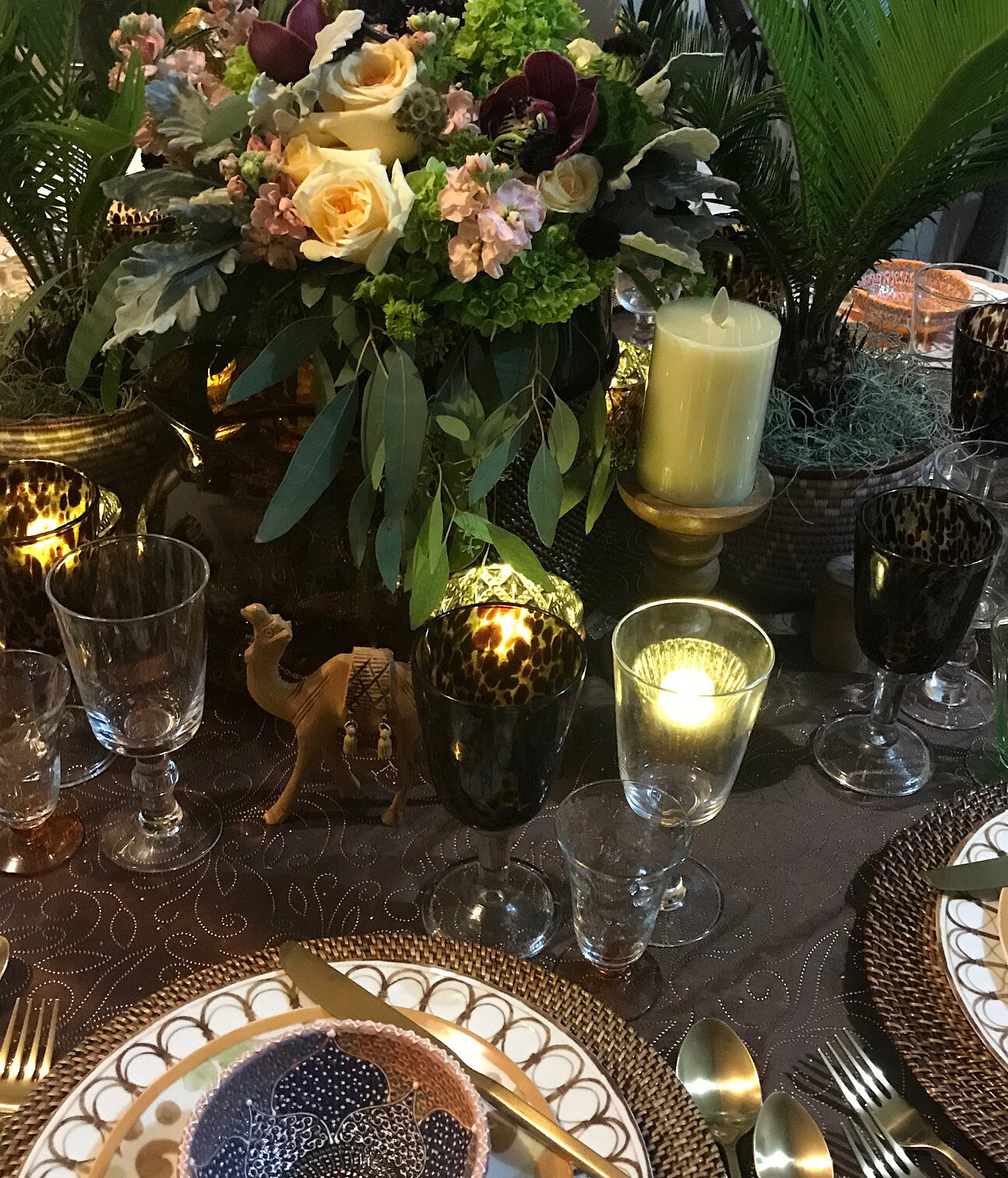 """""""Spicy Moroccan Nights"""" Dark Chocolate tablecloth makes the pastels pop. I love the swirling design in the tablecloth. The layering of textures and colour is subtle and sweet. Who let in that camel?!"""