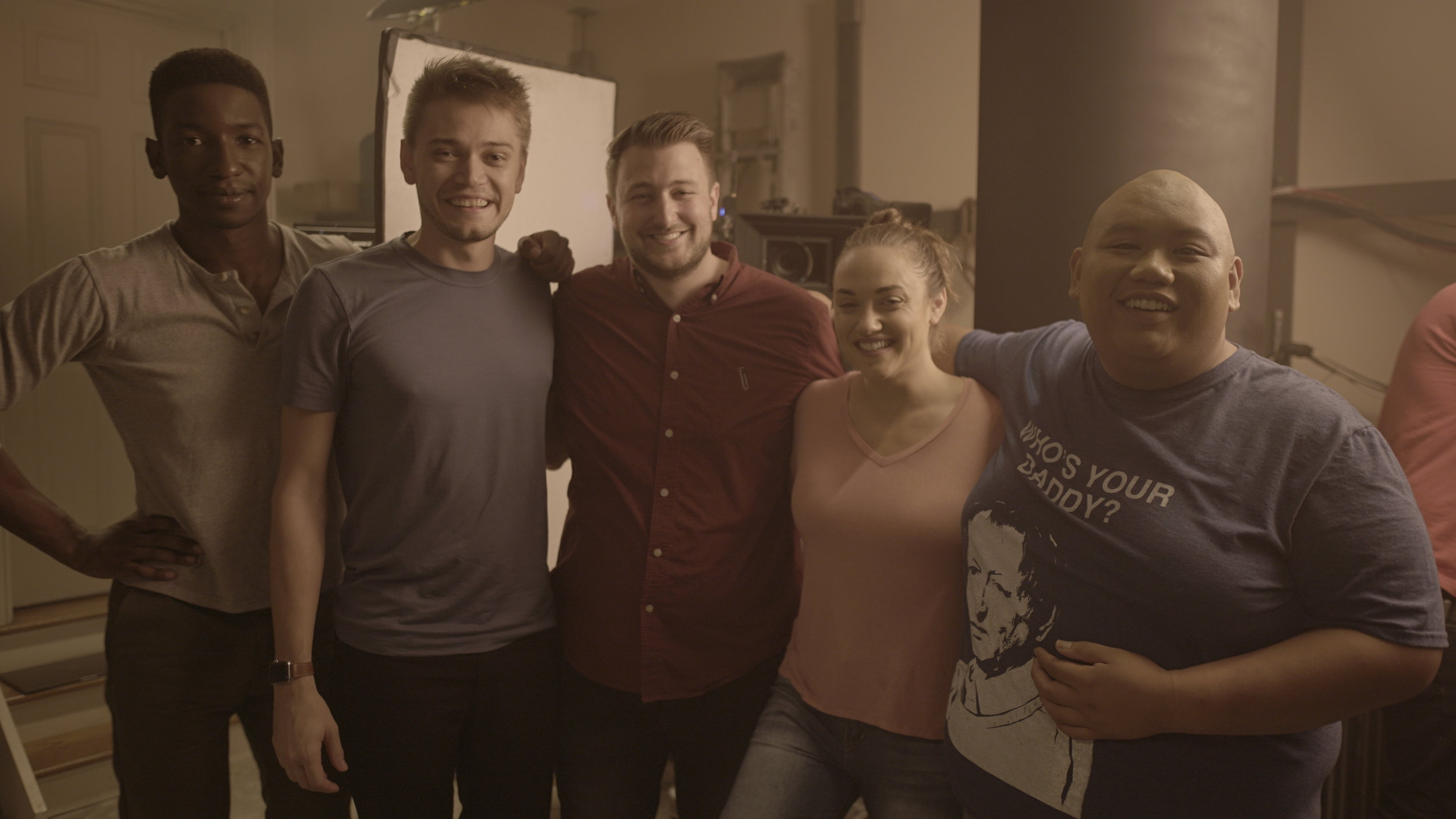 Mamoudou Athie (NATE), Michael Koehler (the Writer), Noah Wagner (director), Alice Kremelberg (CHLOE) and Jacob Batalon (BERNARD)