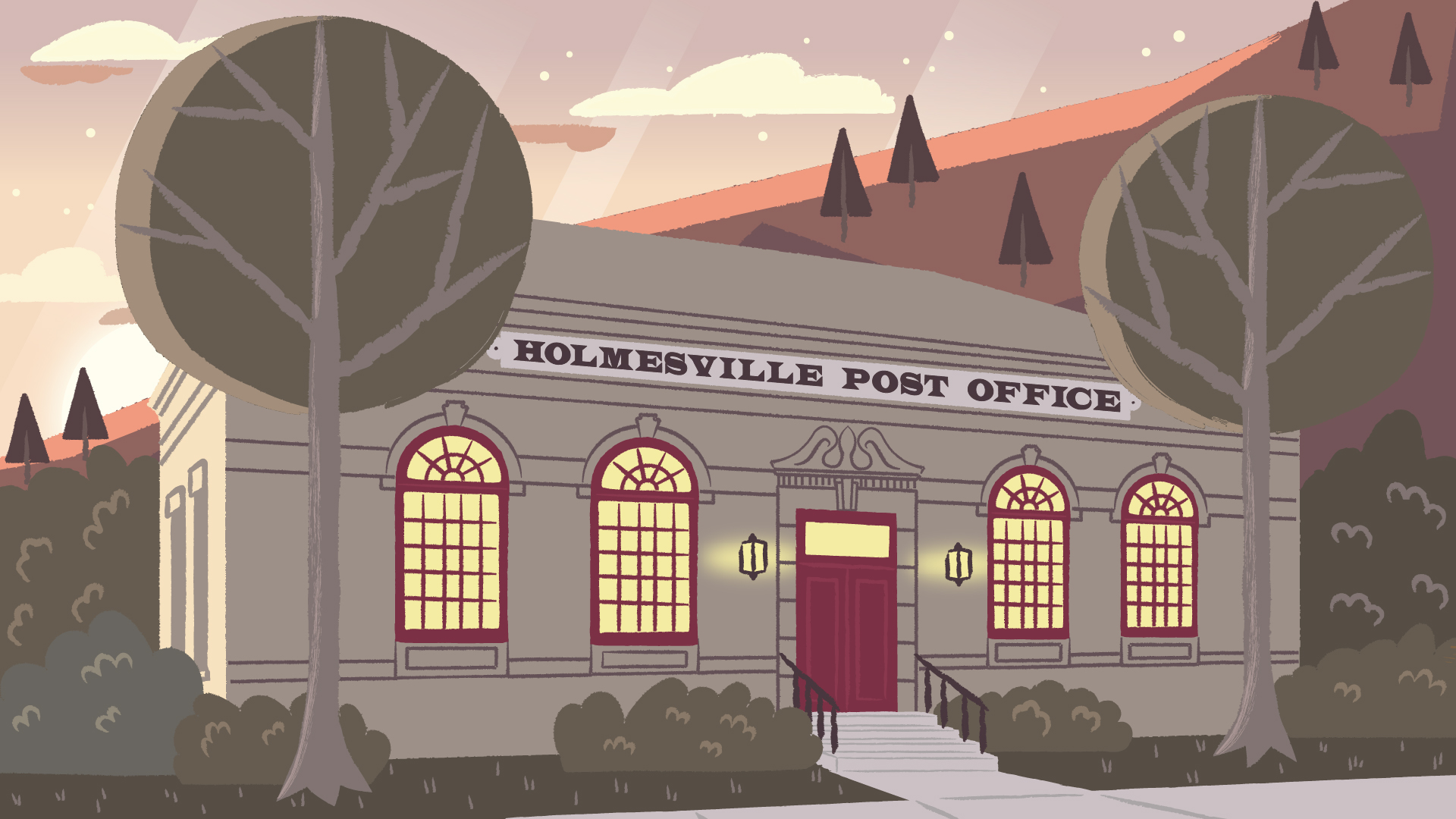 Production illustration of Holmesville post office