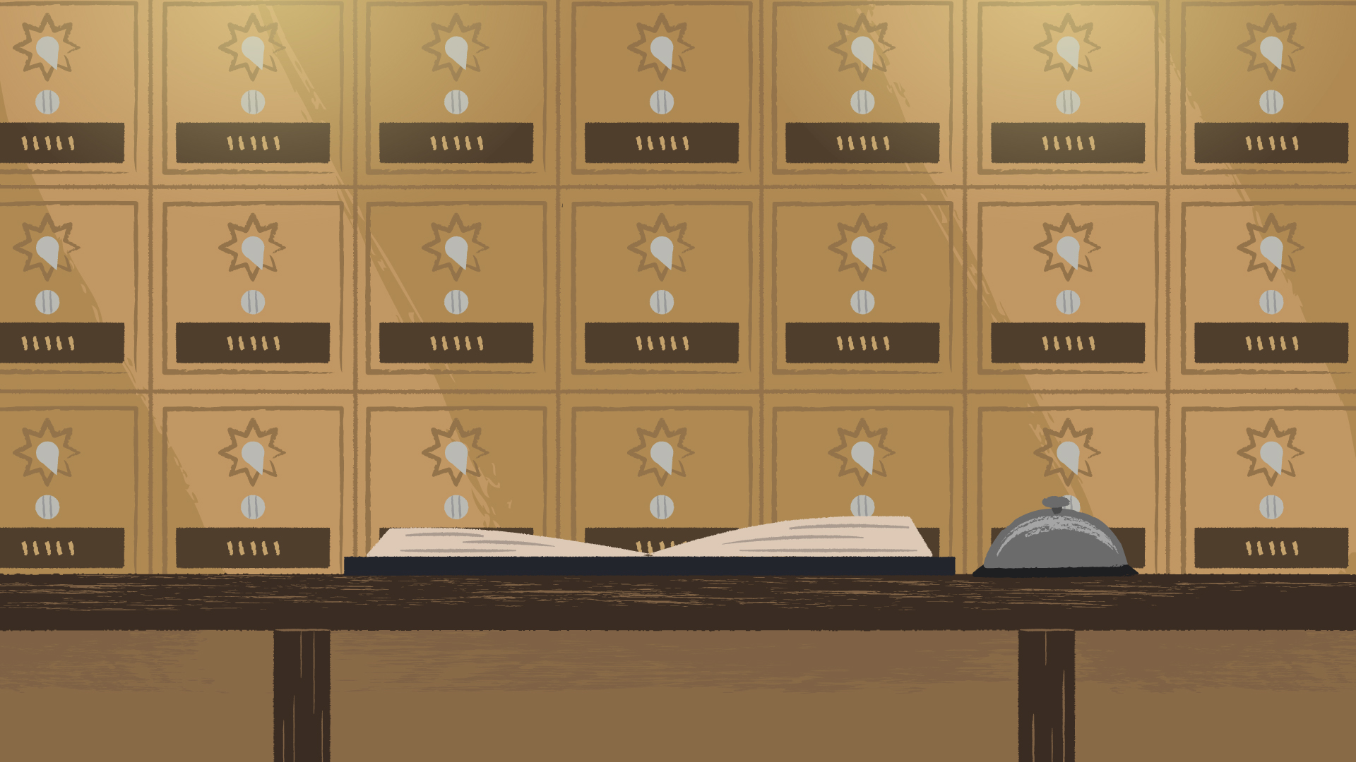 Production illustration of foreground counter and mailboxes background