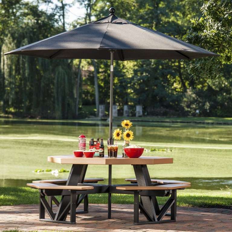 Umbrella - Aluminum, Sunbrella fabric8.5'H x 9′ Diameter45″ extension availableComprised of an aluminum Treasure Garden frame and Sunbrella fabric, this umbrella is extremely durable as well as beautiful. Umbrella head tilts with the push of a button for shade that moves with the sun.Stop in store to check out our umbrella catalog & fabric options