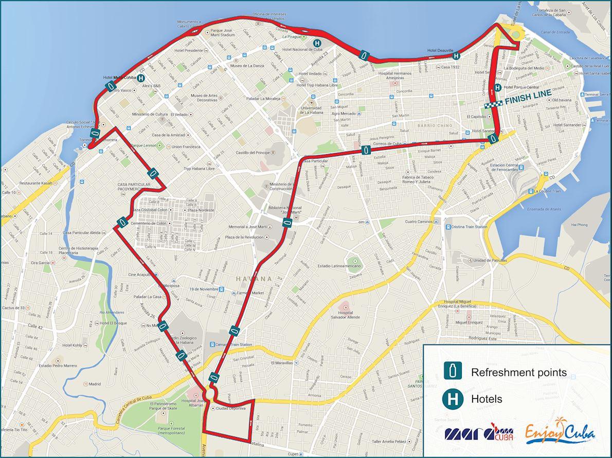 2019 Marabana Cuba - Marathon Route