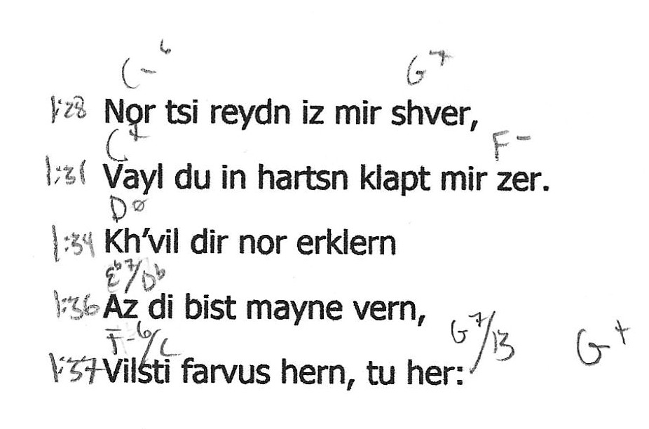 "Excerpt from chord chart by lyrics for ""Prost in Pushet"""