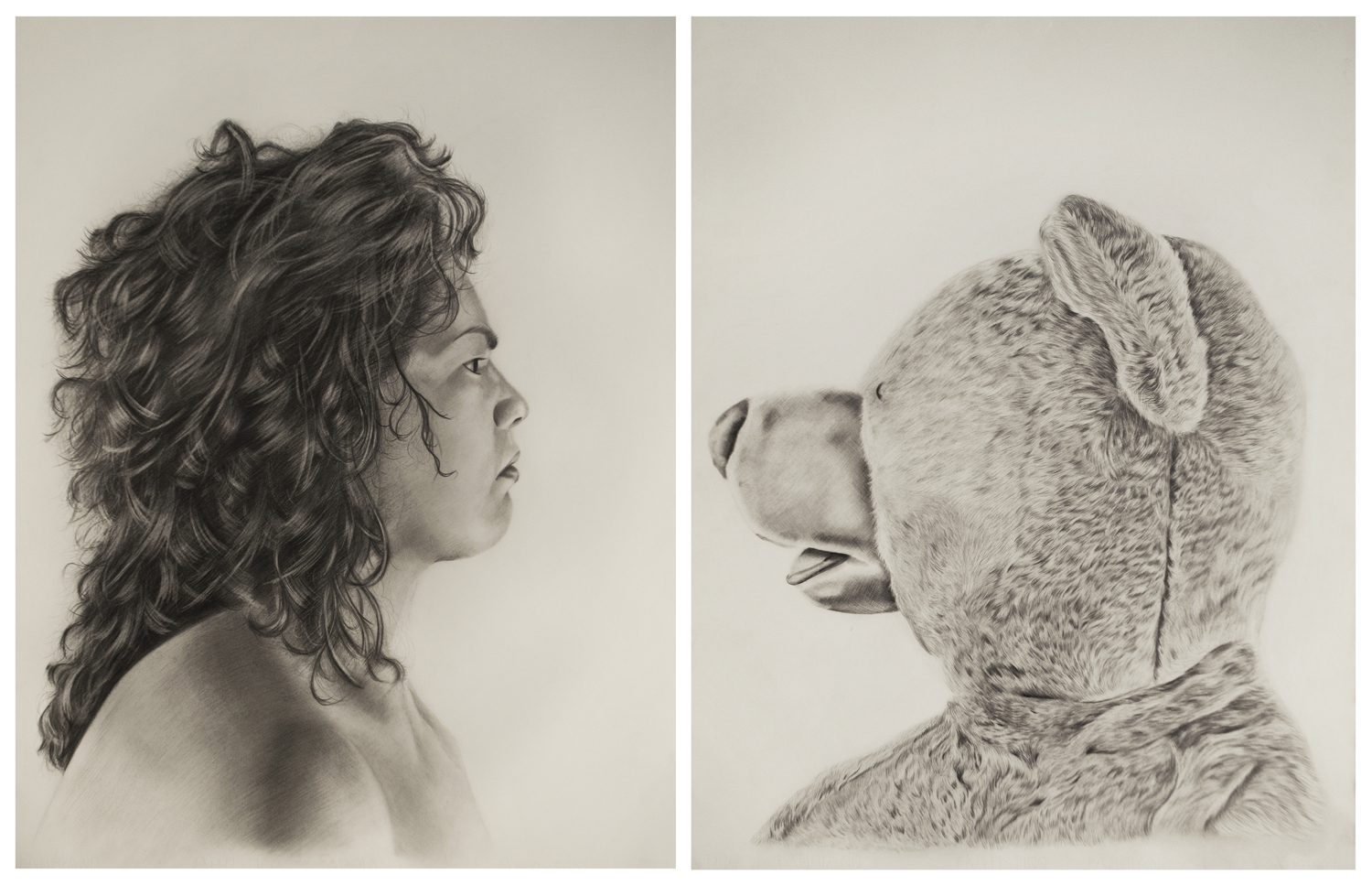 Ileana Tejada.    Princess Ileana vs. Lester the Molester , diptych, 30 x 22 inches each, Graphite on paper. Image Courtesy of the artist