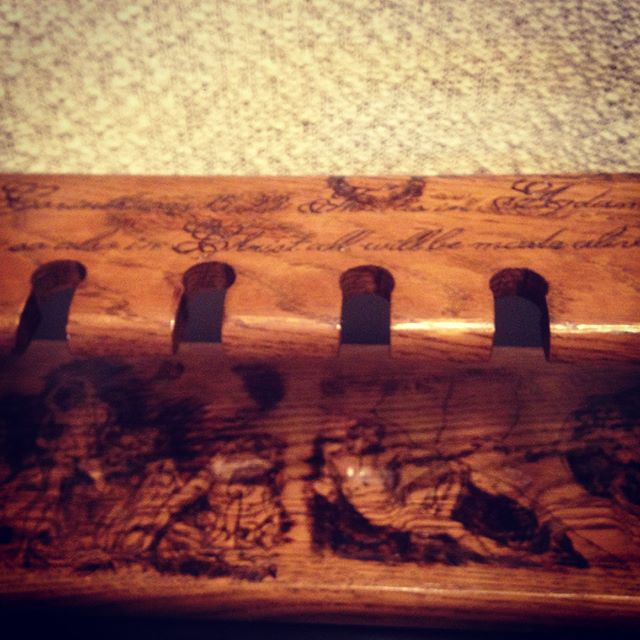 """Handmade """"Death and Resurrection""""  pipe holder for sale only $250! All the art and lettering is hand-burned into solid oak. Get this one of a kind piece of art today before someone else does! Thanks Michelangelo for the original works! #woodworking #woodburning #art #pipes #smoker #christian #holysmoke"""