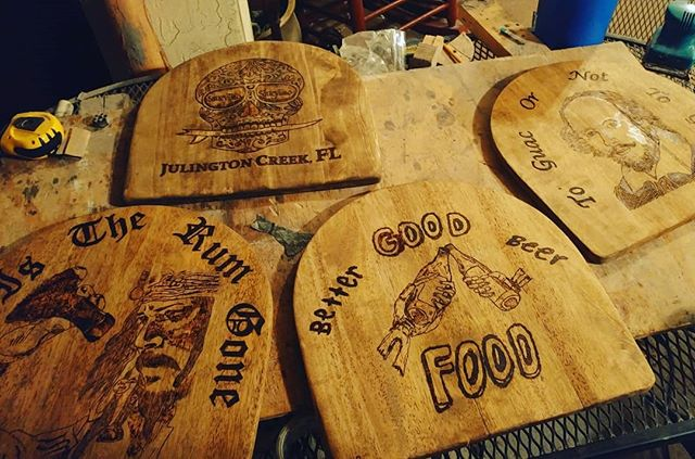 4 new stools for Saucy Taco I am working on. #woodworking #art #bar #beer #woodburning #piratesofthecaribbean #shakespeare #sugarskull