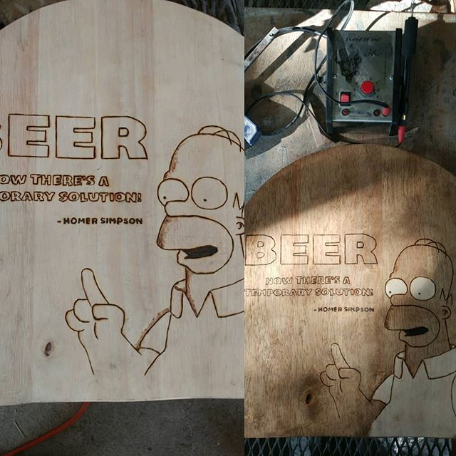 Another insightful stool from Homer Simpson. Thanks for making awesome burners @razertip #pyrography #homer #beer #simpsons #artistsoninstagram
