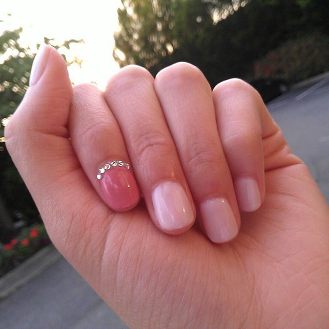 "The ""Crystal Princess"". Gel manicures $30 + design. Find our contact info in profile! 😊 ⋅ ⋅ ⋅ #nails #nailswag #nailart #nail #naildesigns #nailstagram #naildesign #nailsoftheday #nailpolish #shellac #bellevueshellac #opi #opisupercuteinpink #bellevuenailsalon #bellevue #nailsofinstagram"
