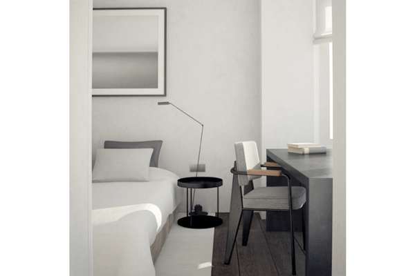 Small Brussels apt. bedroom, NS Architects. || via The Design Edit