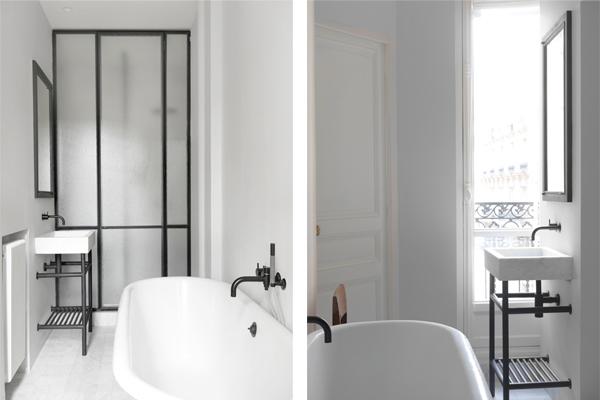 Paris apt. matte black fixtures bathroom, NS Architects. || via The Design Edit