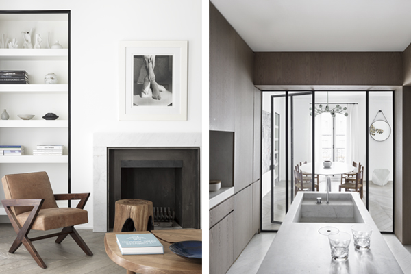 Paris apt. living room and kitchen, NS Architects. Photos: Stephan Juillard || via The Design Edit