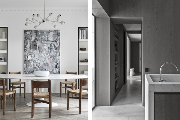 Paris Apt. Dining (left) and kitchen (right), NS Architects. Photo: Stephan Juillard || via The Design Edit