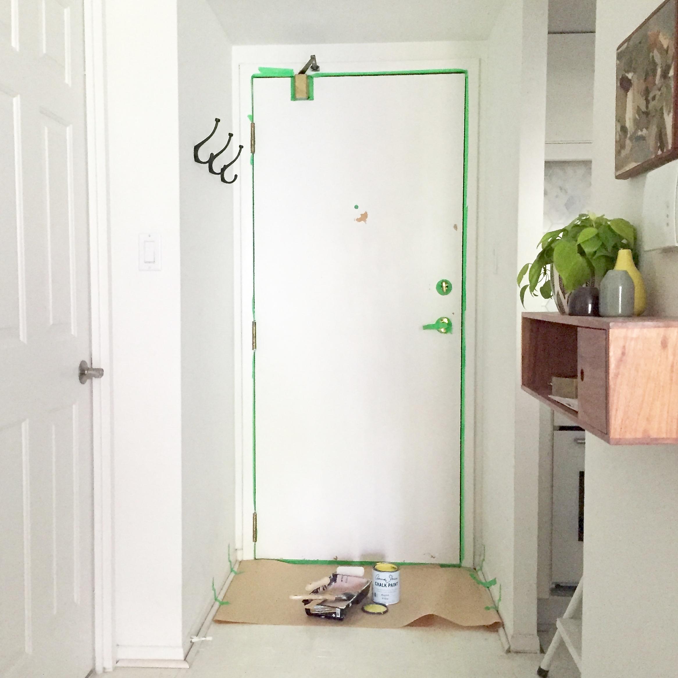 DIY Painted Yellow Door Prep || via The Design Edit