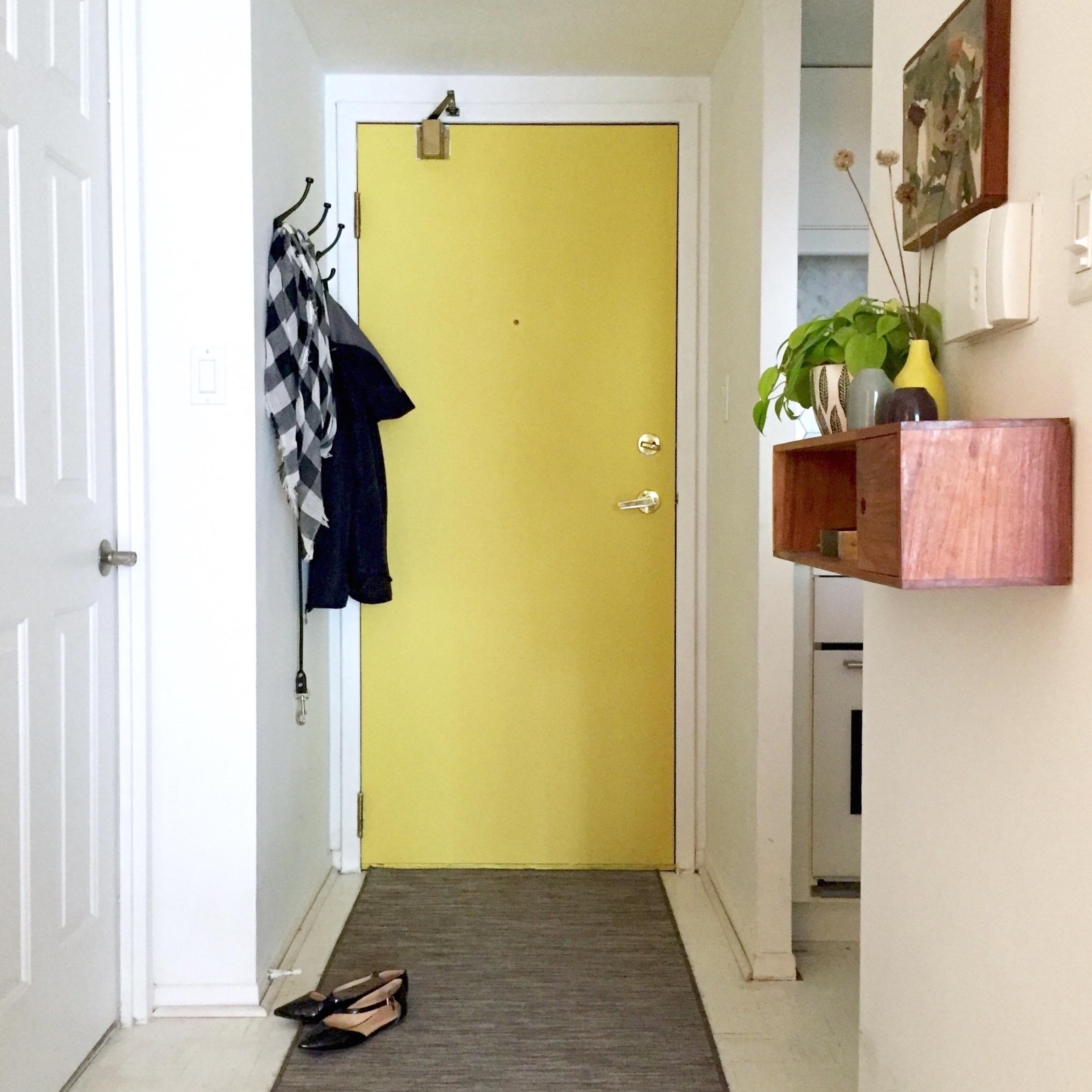 DIY Yellow Painted Door || via The Design Edit